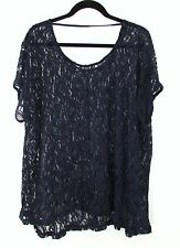 NAVY TOP Bobeau SEXY SEE THROUGH LACE PAISLEY DESIGN WOMEN'S PLUS 2X NEW