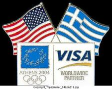 OLYMPIC PINS 2004 ATHENS GREECE VISA SPONSOR USA FLAGS