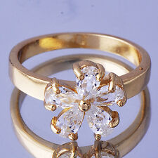Pretty Yellow Gold Filled Clear CZ Flower Ring for Womens Size 6.5 Free Shipping