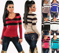 Sexy Women Longsleeves Striped V Neck Sweater Ladies Jumper S/M/L - UK.8-10-12