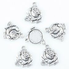 35pcs Tibetan Silver Floral Flower Rose Photo Picture Frame Charms Pendant Beads