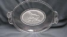 """1877 EAPG Pattern Glass Gillinder Lion Frosted Lion 13"""" Lion Handle Oval Platter"""