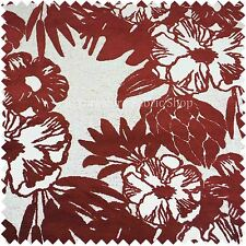 Textured Red White Floral Design Velvet Upholstery Curtains Furniture Fabric 908