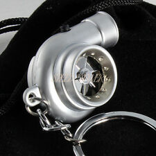 Silver Turbo Charger Spinning Turbine Key Chain Ring w/ Light - Battery Powered