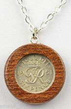 Hand Made Solid Mahogany Wood Framed 1951 Lucky Sixpence Necklace HCN212