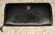 Vintage Black Genuine Leather Givenchy Made In Spain Full Zip Around Wallet!