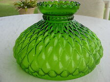 10  INCH GREEN GLASS DIAMOND QUILTED OIL LAMP SHADE   Fits Aladdin