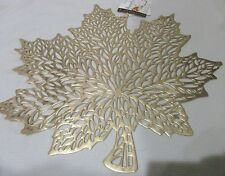 New Fall Thanksgiving Vinyl Gold Maple Leaves Placemats Decorations Set of 4
