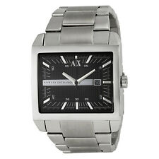 BRAND NEW ARMANI EXCHANGE AX2200 BLACK SQUARE DIAL SILVER STEEL MEN'S WATCH