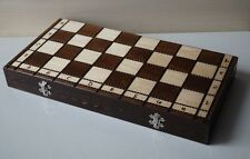 LARGE WOODEN HAND CRAFTED CHESS SET 42cm x 42cm (16'' x 16'')