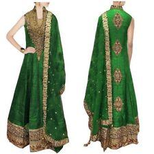 Grandiose Green Raw Silk Fancy Border Work Party Wear Anarkali Salwar Suit S255G