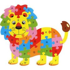 Wooden Blocks Kid Child Educational Alphabet Puzzle Jigsaw Toy ~Lion~