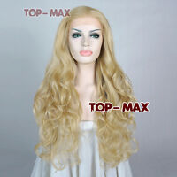 65cm Lace Front Wig Light Golden Curly 26 Inches Equal Lace Heat Resistant Hair