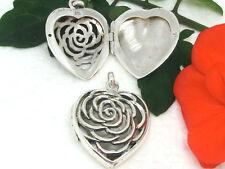 Medaillon Rose Herz 925 Silber Anhänger Liebe Blumen