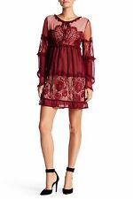 ROMEO AND JULIET COUTURE Burgundy Peek-a-boo Lace Dress Size S NWT $165