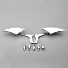 Chrome Motorcycle Street Sport Bike Cruiser RearView Side Mirrors 8mm 10mm Screw