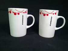 SET OF 2 STARBUCKS CHRISTMAS MUGS 2012 STRING OF RED BALLS ~ MINT!