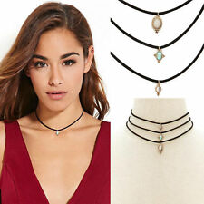 Women Fashion 3Pc Turquoise Pendant Charm Multilayer Black Cord Choker Necklace