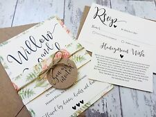 1 Rustic/Floral 'Willow' Wedding Invitation/RSVP/Wish card SAMPLE with envelopes