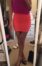 Women's Topshop Fluorescent Bright Pink/orange Body on Bandage Skirt Size 8