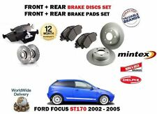FOR FORD FOCUS ST170 2.0i 2002-2005 FRONT + REAR BRAKE DISCS SET & DISC PAD KIT
