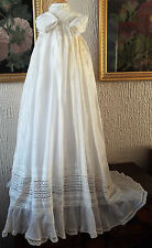 ANTIQUE BABY CHRISTENING GOWN SILK/LACE/WITH PROVENANCE