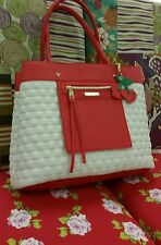 NWT set Betsey Johnson Bag in a Bag bone red  tote w/striped pouch bag satchel