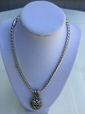 Vintage Brighton Silver Filigree 3D Heart Pendant Necklace Retired Reversible
