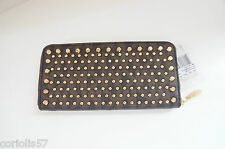 NWT MICHAEL KORS JET SET TRAVEL STUDDED ZIP AROUND CONTINENTAL WALLET/BROWN