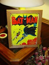 BAT MAN AND ROBIN COMIC COVER CUSTOM SOLID CEDAR FRAMED WEATHERED METAL SIGN