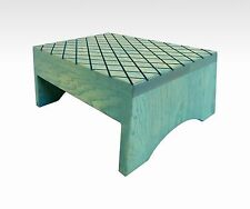 "Solid Wood Step Stool ""Handmade"" in Aqua, Foot Stool Rustic Bedroom Bed Wooden"