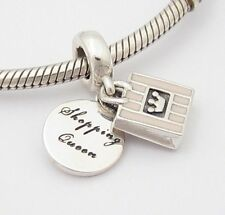 I LOVE SHOPPING DANGLE CHARM Bead Sterling Silver .925 for European Bracelet 555