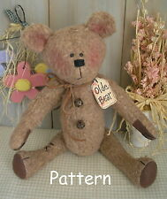 PATTERN Antique Vintage Primitive Raggedy Olde Bear Fabric Doll Folk Art # 18