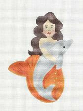 *NEW* Mermaid with Dolphin handpainted Needlepoint Canvas by Labors of Love