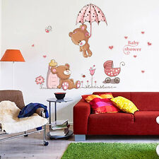 Removable Cute Bear Nursery Girl Baby Children Art Decal Wall Sticker Home Decor