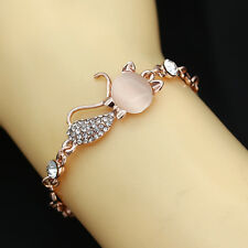 Lovely Cat Rose Gold Chain Charm Opal Crystal Rhinestone Bangle Bracelet