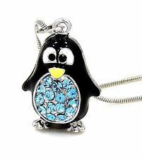 Adorable Penguin Austrian Crystal Pendant Charm Silver .925 Chain Necklace Aqua