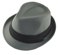Charcoal Gray Basic Fedora Hat Cap with Black Band-xxl-2xl-62cm