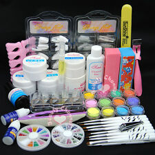 Pink White Clear UV Builder Gel Top Base Coat Primer Nail Art Glitter Tips Kit
