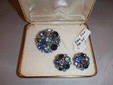 VINTAGE KARU ARKE INC RHINESTONE BROOCH AND EARRING SET Jewelry Box D