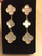 "Handmade Mother of Pearl 2.5"" 3 Clover Drop Pierced Earrings Gold Cleef Style"