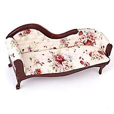 1/12 Vintage Dollhouse Miniature Furniture Wooden Floral Chaise Couch Sofa