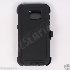 for Galaxy(S7 Edge) Defender Black Case with Belt Clip&Built-in Screen Protector