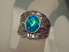 1ct blue green opal wide band antique 925 sterling silver ring size 7 USA