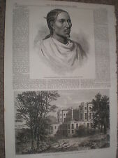 Abyssinia Expedition Dejajmatch Kassai ruler of Tigre 1868 print ref W1