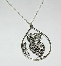 Brand New Silver Tear Drop Shaped Owl Pendant Necklace