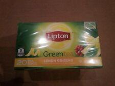 New Sealed Lipton Green Tea Lemon Ginseng 20 tea bags