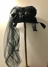 Gothic Steampunk Felt Hat With Ribbons Flowers,feathers And Cameo One Size 59