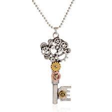 Punk Vintage Silver Steampunk Gear Key Machinery Gear Pendant Necklace Chain