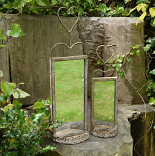 Set of Two Mirrored Wall Sconce Rustic Candle Holder Shabby Vintage Chic Garden